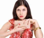 Woman with clutch bag — Stock Photo