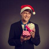 Man in Santa Claus cap — Stock Photo