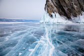 Rocks on winter Baikal lake — Stock Photo