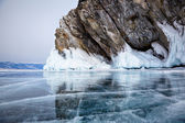 Rocks on winter Baikal lake — Stock Photo