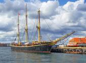 The historical ship in the harbour of Copenhagen. — Stock Photo