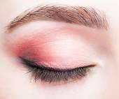 Female closed eye and brows with day makeup — Stock Photo