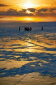 Winter sunset over Baikal lake — Stock Photo
