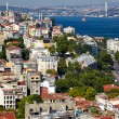 The view from the Galata tower to the residental houses with Bos — Stock Photo #71158453