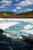 River Chibitka over ice at Spring — Stock Photo