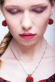 Weibliches Gesicht Nahaufnahme Schuss — Stockfoto