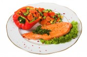 Salmon with vegetable — Stock Photo