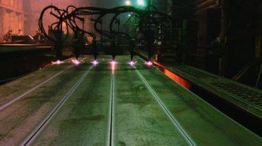 Metal cutting with gas welding — Vídeo de stock