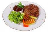 Grilled meat with vegetables — Stock Photo