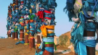 Buryat traditional pillars with colored ribbons — Stockvideo