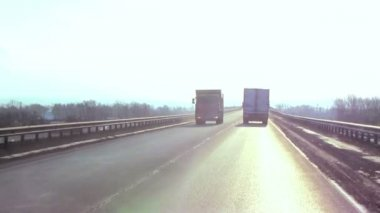 Trailer truck traffic on highway — Stock Video