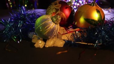 Christmas Balls and New Year Decorations — Stock Video