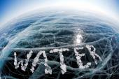 Word water made from ice — Stock Photo