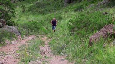 Man Jogging On Mountain — Stock Video
