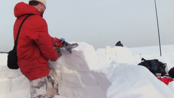 Man Builds A Snow House — Vídeo de stock