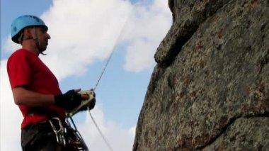 Man Climbing on the cliff — Stock Video