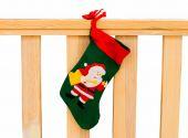 Decorative christmas sock with santa — Stock Photo