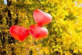 Love heart balloons — Stock Photo