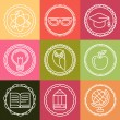 Vector education icons and logos in outline style — Vecteur