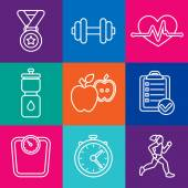 Vector set of fitness icons — Stock Vector