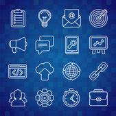 Flat vector icon set of SEO symbols — Stock Vector