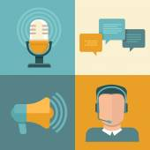 Vector podcast concepts in flat style — Stock Vector