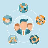 Vector teamwork and cooperation concept — Vector de stock