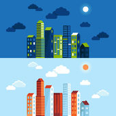 Vector city illustration in flat simple style — Vettoriale Stock