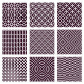 Vector seamless patterns in trendy mono line style — Stock Vector