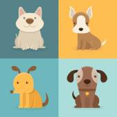 Vector set of cartoon dogs in flat style — 图库矢量图片