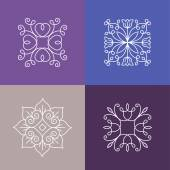 Vector abstract emblems - outline monograms — Stock Vector