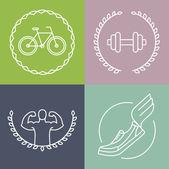 Vector sport logos in outline style — Vetorial Stock