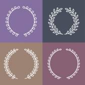 Vector set of laurel wreaths in outline style — Stock Vector