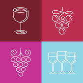 Vector wine line icons and logos — Stock Vector