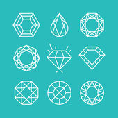 Vector set of line diamond icons and signs — Stok Vektör