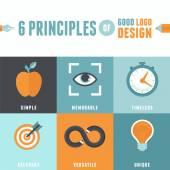 Vector 6 principles of good logo design — Stock Vector