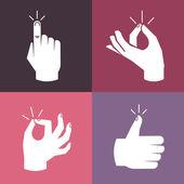 Conjunto de vectores de las manos y los gestos — Vector de stock