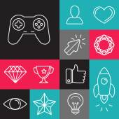 Vector set of line game icons — Stock Vector