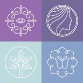 Vector beauty and spa line logos  — Vector de stock