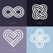 Vector set of abstract line logos — Stockvektor