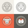 Vector dog and cat icons and logos — Stock Vector #61795087