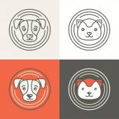 Vector dog and cat icons and logos — Stock Vector