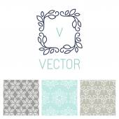 Vector set of floral border and seamless patterns — Stock Vector