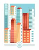 Vector city illustration in flat simple style — Vector de stock