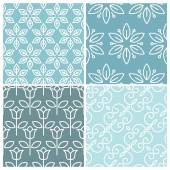 Vector set of floral seamless patterns  — Stock Vector