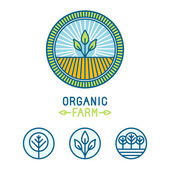 Vector agriculture and organic farm line logos  — Stockvektor