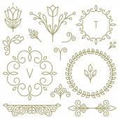 Vector set of line design elements — Stock Vector