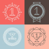 Vector line gamification icons and badges — 图库矢量图片