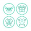 Vector set of line butterfly logos and icons — Stock Vector #63009229