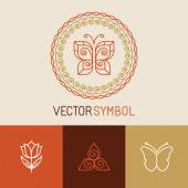 Vector set of line butterfly logos and icons — Stock Vector